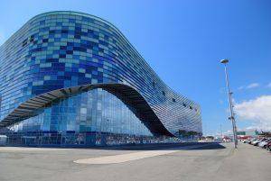 Olympic Ski Resort Tour in Russia. Rosa Khutor Winter Season Tour. Sochi. Iceberg Ice Arena in the Olympic Park