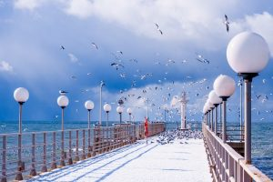 Olympic Ski Resort Tour in Russia. Rosa Khutor Winter Season Tour. Sochi pier in winter