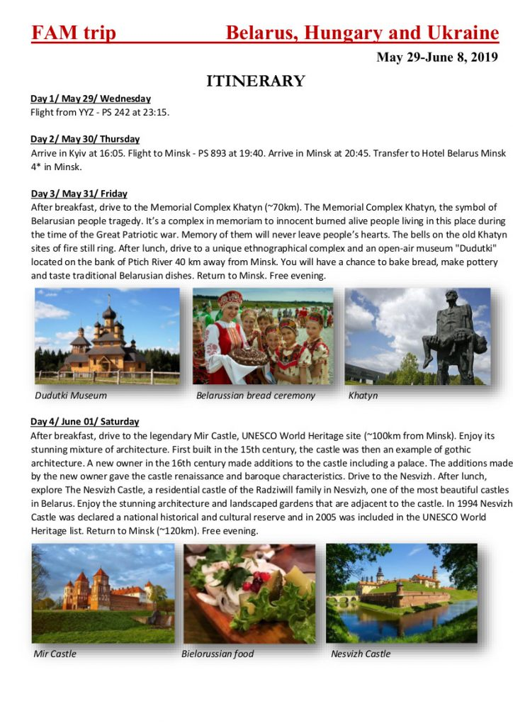 Itinerary FAM to Belarus and Hungary 2019