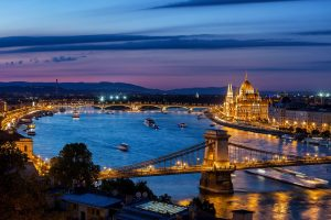 Royal Tour – Prague, Budapest, Vienna. Danube River in Budapest at night
